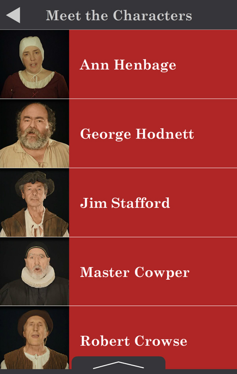 Masters House tablet tour characters